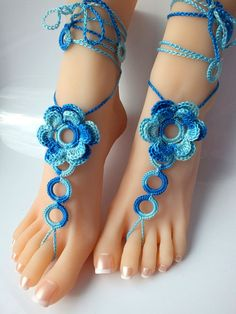 Crochet Barefoot Sandals, Nude shoes, Foot Jewelry, Wedding, Victorian Lace, Sexy, Anklet , Bellydance,Beach Footwear(A Pair-2pcs) op Etsy, 9,67 €
