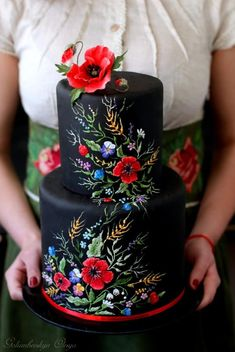 Schwarze Hochzeitstorte - Cakes, Cupcakes, Cookies and More - Gorgeous Cakes, Pretty Cakes, Cute Cakes, Amazing Cakes, Beautiful Cake Designs, Dessert Nouvel An, Decors Pate A Sucre, Bolo Floral, Floral Cake