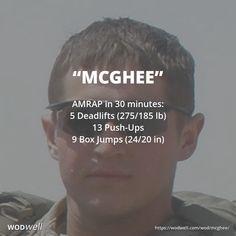 """McGhee"" WOD - AMRAP in 30 minutes: 5 Deadlifts (275/185 lb); 13 Push-Ups; 9 Box Jumps (24/20 in)"