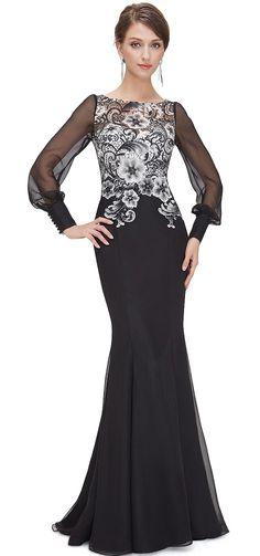 Ever-Pretty plesové šaty Pavoučnice, černé
