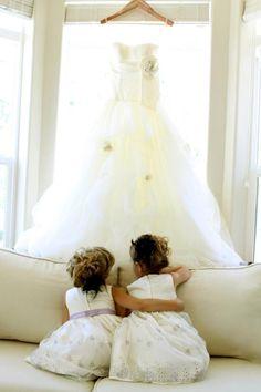 Flower girls wedding brides dress
