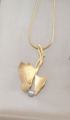 PEARL OR BEAD - LOVELY WAY TO CONNECT 2 LEAVES - In Bloom Jewelry - Ginkgo necklace