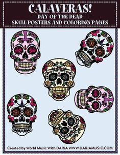 A mini-book of colorful skull posters plus five skulls to color yourself! Perfect for Dia De Los Muertos/Day Of The Dead or Fall/Halloween study or celebration.