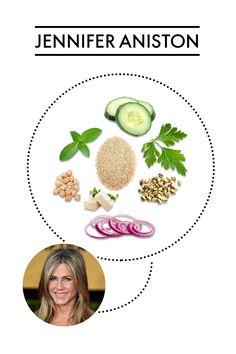 Jennifer Aniston's salad includes: bulgur, cucumbers, parsley, mint, red onion, garbanzo beans, feta cheese, pistachios