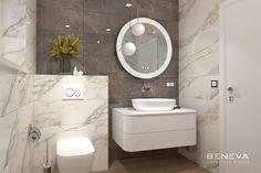 MALÉ KÚPEĽNE - Riešenia & Dizajn / BENEVA Bathroom Lighting, Toilet, Bronze, Mirror, Furniture, Home Decor, Bathroom Light Fittings, Bathroom Vanity Lighting, Flush Toilet