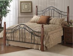Classic Wood and Wrought Iron King Size Poster Bed Headboard Footboard and Rails #Hillsdale