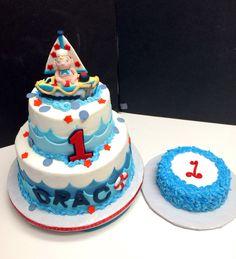 Nautical themed first birthday cake.