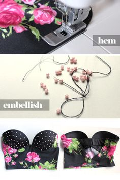 DIY Sexy Refashion Bralette Top - Interesting and easy way how to remodel your bra into sexy bralette top. Simple steps for refashion bralette top. Diy Clothing, Sewing Clothes, Clothing Patterns, Diy Bralette, Bralette Tops, Sewing Tutorials, Sewing Crafts, Sewing Projects, Ropa Interior Boxers