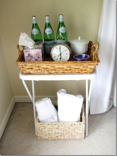 Simple, practical, economical set up.  Guest room hospitality ... LOVE this ... if only I had a guest room!