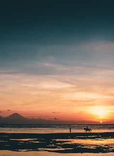 Clear view of Mount Rinjani as a local on horseback takes in the beautiful sunset Gili T, Beautiful Sunset, Places To Visit, Art Prints, Mountains, Frame, Outdoor, Art Impressions, Outdoors
