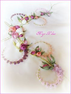 Love the combination of pretty ribbonwork Roses and dainty beadwork! :)