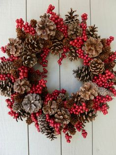 Pinecones and holly berries wreath