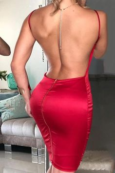 Open Back Spaghetti Strap Bodycon Dress – streetstylepop Tight Dresses, Sexy Dresses, Midi Dresses, Outfits Dress, Tight Skirts, Woman Outfits, Club Outfits, Spring Dresses, Club Dresses