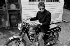 Bob Dylan on his Triumph