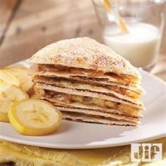 Perfect quick breakfast on school days! Banana+Nut+Quesadilla+Wedges from Jif®