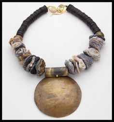 ALI - Druzy Agate - African Coconut Shell Heishi - Handforged Domed Brass Pendant Necklace