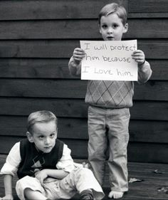This boy looked out for his brother.