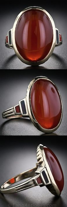 *Art Deco Carnelian and Enamel Ring, A striking 1930s vintage Art Deco ring, featuring a deep amber-color Carnelian, bezel set in sturdy 10 karat yellow gold and accented with black and amber enamel accents. This very cool vintage ring measures 3/4 inches long and lays close and snug on your finger.
