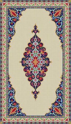 Oriental Pattern Rug Mini Cross Stitch, Cross Stitch Borders, Cross Stitch Designs, Cross Stitching, Cross Stitch Patterns, Embroidery Patterns Free, Diy Embroidery, Cross Stitch Embroidery, Diy Crafts Rugs