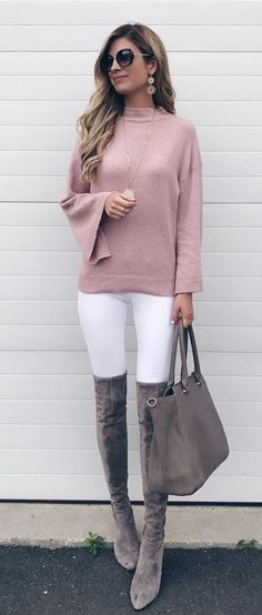 #fall #outfits women's black sunglasses; pink sweater; white pants; pair of gray suede thigh-high boots; gray leather tote bag outfit