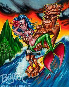 BigToe's One 2 Go limited edition archival art print by BigToeArt Tiki Tattoo, Tiki Art, Rockabilly Art, Hawaiian Art, Mermaid Coloring, Art Series, Lowbrow Art, Print Artist, Surf Art