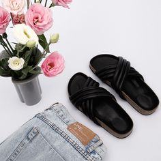 Slide into the 'Indiana' by Tony Bianco in style, by pairing these beauties with boyfriend jeans for a modern, chic look. SHOP > http://www.styletread.com.au/indiana-black.html | Slides | Flats | Sandals