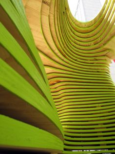 Origami Cave - the layers are interesting, remind me of the rings on a tree stump. I also like the colours, the vibrancy of the green against the natural pine colour