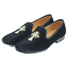 59.50$  Watch now - http://aliewu.worldwells.pw/go.php?t=1849176481 - New Handmade Mens Velvet Loafers Shoes Embroidery Men Party Dress Shoes Smoking Slipper Fashion Men's Flats Black Blue Size 7-13 59.50$