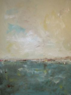 Large Abstract Beach Landscape Painting Aqua Blue by lindadonohue