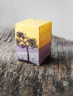 Sunset At The Beach - Hand Painted Candle Cube - Painted Ocean And Pine Fancy Candles, Diy Candles Easy, Best Candles, Handmade Candles, Pillar Candles, Beach Cottage Decor, Candels, Candle Making, Decorating Tips