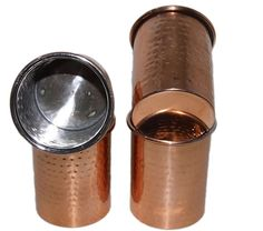 Hammered Copper Tumbler,Ayurveda Health Benefit 350 Ml Brown Set Of 4Double Wall #VisvabavanahMart