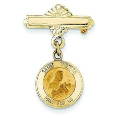 14k Gold Saint Theresa Medal Pin -- More info could be found at the image url. (This is an Amazon Affiliate link and I receive a commission for the sales)