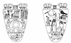 Registro superior glifo de palacio con el nombre faraón en su interior flanqueado por Hathor. Reverso: monarca corona blanca seguido de su lava pies. Horus golpea a un enemigo. Parte inferior 2 asiáticos huyen bajo ellos símb.de ciudades fortificadas. Anverso: Narmer corona roja inspecciona el campo de batalla. Va con su sacerdote y 4 portaestandartes hacia el templo Buto. Los enemigos maniatados y decapitados. 2 leonas entrelazan sus cuellos=unión. Inferior faraón-toro conquista una ciudad.