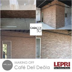 Making Off - Casa Cor SP 2016!    Espaço da arquiteta Idália Daud - Café Deli Dela, parceria Lepri Finas Cerâmicas Rústicas.    Brick Natura Cappuccino 7 x 26 cm.