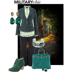 Cinched in and dangerously classy by maria-kuroshchepova on Polyvore featuring Misumi, Evans, Pier 1 Imports, Hermès, Greenbeads and militarychic