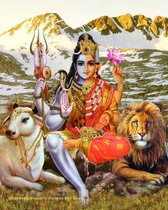 A beautiful fine art print of the masculine / feminine forces as Lord Shiva the destroyer and transformer, and his consort as Durga Mata, pure Shakti Mother Kali, Divine Mother, Indian Goddess, Goddess Lakshmi, Goddess Art, Spiritual Warfare Prayers, Namaste, Shiva Shakti, Lord Shiva