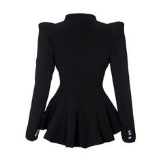 Double Lapel Fit-and-flare Blazer Black ($51) ❤ liked on Polyvore