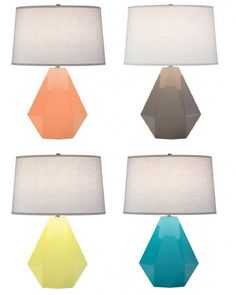 What is not to love about these fabulous jewel lamps!  Pretty colors too...Robert Abbey Delta Lamps