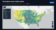The map shows which trailer parks are situated in tornado-prone region. Map Geo, Tornadoes, View Map, Montreal, Parks, City, Cities, Parkas