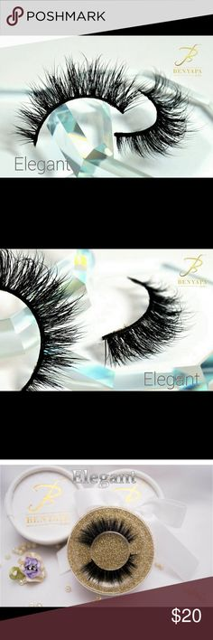 """Eyes lashes Elegant 3D mink lashes is designed to suit all eye shapes and sizes. Its uniquely layered volume of individual lashes gives your eyes that sexy sweet elegant look.  It is  light, soft and not too thick for that stylish look for that classic elegant occasion. ...You deserve Benyapa Lashes """"because you're beautifull"""" Makeup False Eyelashes"""