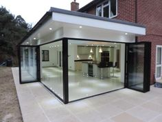 Lights outside roof extended outside of glass - - Hausanbau - House Extension Design, Extension Designs, Glass Extension, Extension Ideas, Rear Extension, Bungalow Extensions, Garden Room Extensions, House Extensions, Orangerie Extension