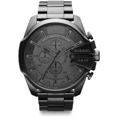 Diesel Stainless Steel Mega Chief Bracelet Watch ($260) ❤ liked on Polyvore featuring men's fashion, men's jewelry, men's watches, gunmetal, stainless steel mens watches, mens diamond bezel watches, mens blue dial watches and diesel mens watches