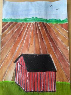 Lato ja pelto - idea alakoulun aarreaitasta. TOteutuksessa suomalaisen maalaisarkkitehtuurin lato (kavaljeeriperspektiivi) ja yhden pakopisteen perspektiivi (huom! Pakopiste horisonttiin), vesivärit