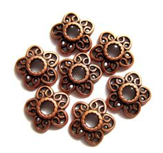 30 Bead caps red copper 12mm lace filigree by GatheringSplendor, $3.25