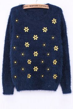 Flower Embroidered Furry Sweater OASAP.com