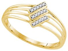 10kt Yellow Gold Womens Round Natural Diamond Stripe Fashion Band Ring 1/20 Cttw