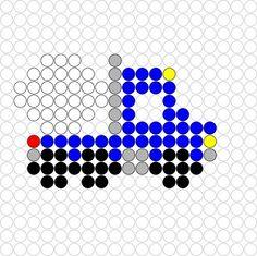 Kralenplank Cementwagen Pixel Beads, Fuse Beads, Diy Perler Beads, Perler Bead Art, Card Patterns, Beading Patterns, Pearler Bead Patterns, Melting Beads, Plastic Canvas Patterns