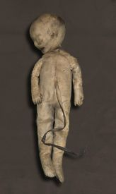 An obstetric training doll used by Dr William Smellie in the UK, one of the most prominent obstetricians of the 18th century, for training midwives about birth. Made using real human neonatal craniums, leather, wire and stuffed with horsehair.