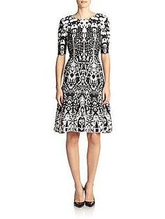 St. John Animal-Print Jacquard Dress - Black - Size 12