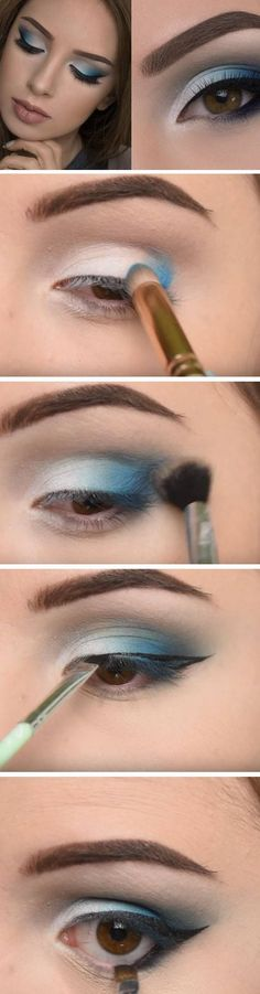 Soft Blue Smokey Eye | 20 Easy Summer Makeup Ideas for Brown Eyes that are totally wearable!